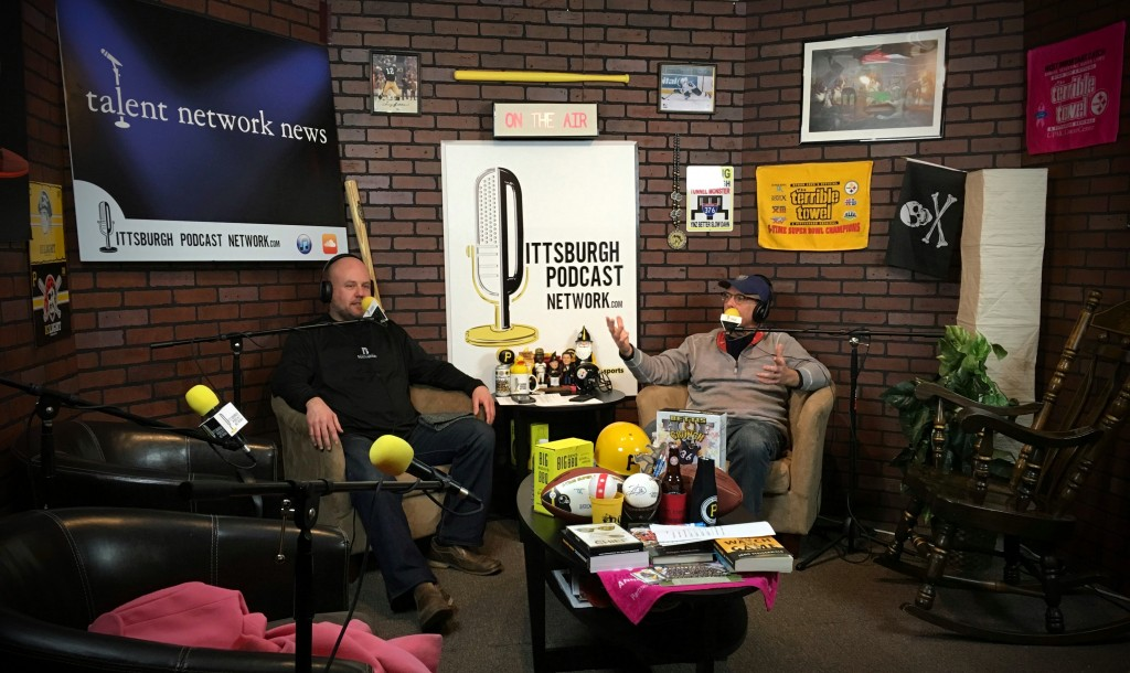 John Chamberlin (R) and Craig Tumas (L) as they record Episode 6 of The YaJagoff Podcast