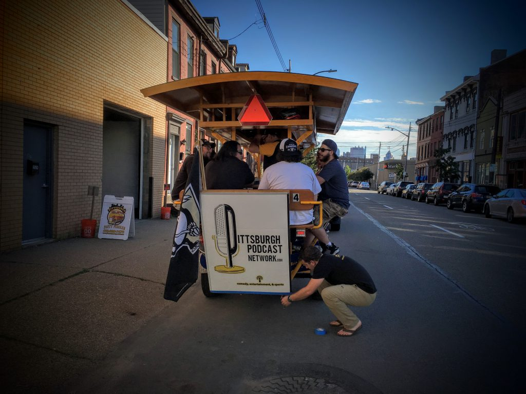 Setting up at the Pittsburgh Party Pedaler garage in the Strip District - the Pittsburgh Podcast Network is everywhere...