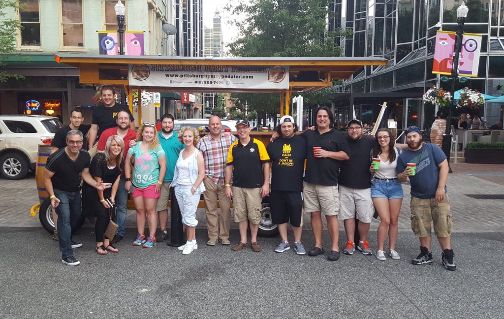 Everyone joins the party when it's the YaJagoff! Podcast, live on the Pittsburgh Party Pedaler in Market Square right outside Pizzaiolo Primo!